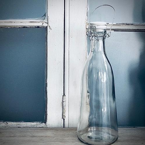 Botella vintage tapa blanca