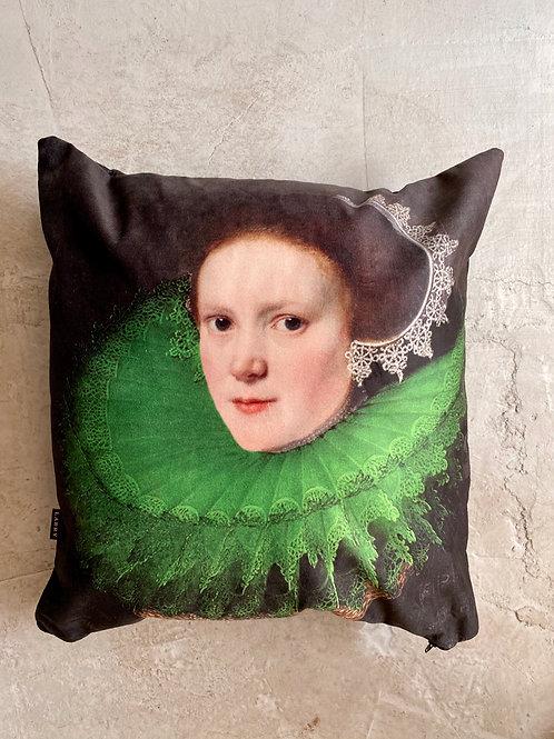 Cojín mujer cuello verde