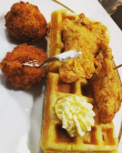 Chicken & Waffle with Fried Macaroni Balls