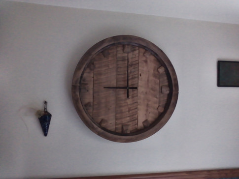Wooden Gristmill Pully Clock