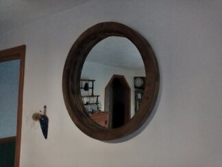 Wooden Pully Wheel Mirror