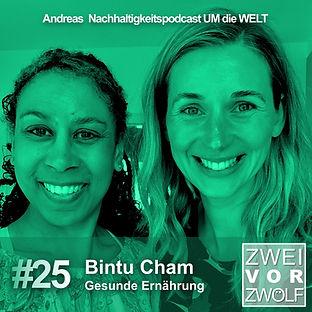 Cover der Folge 25 Zweivorzwölf Podcast über Nachhaltigkeit mit Bintu Cham