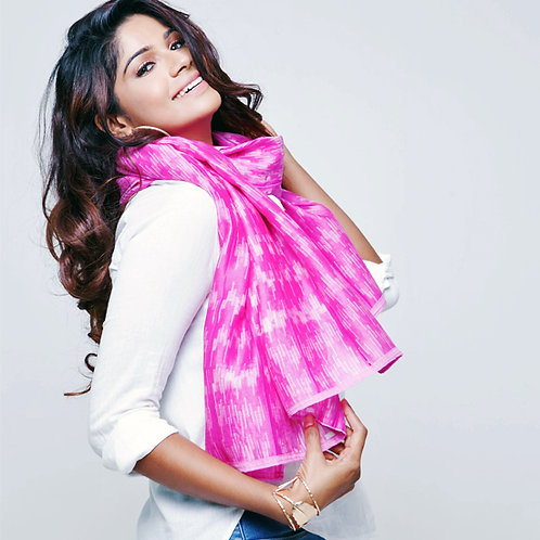 Mia: Pink Shibori Chanderi Scarf