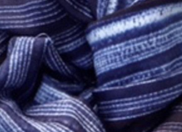Indigo Linear Shibori Silk Stole