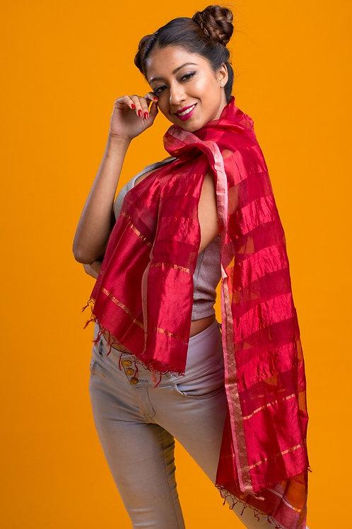Poppy: Red Silk Handloom Scarf