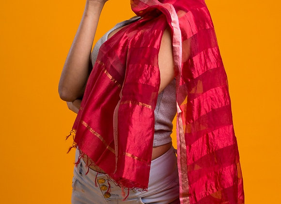 Poppy: Red Silk Handloom Scarf
