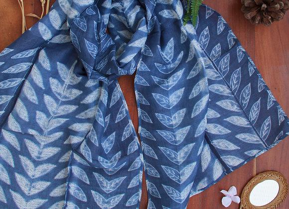 Classic Blue Petals Linen Shibori Stole