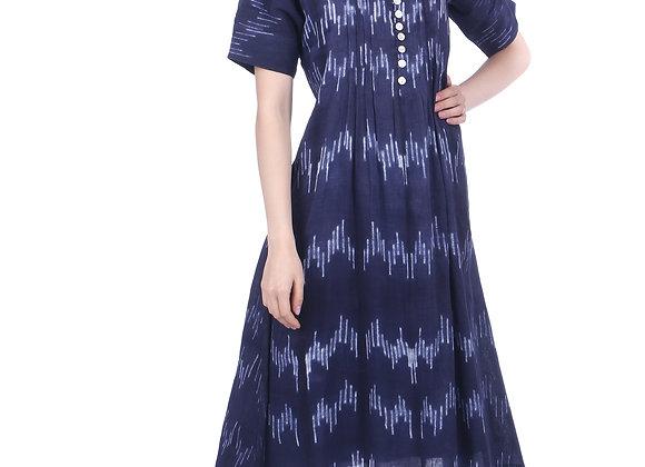 Indigo Linear Shibori Handloom Linen Kurta