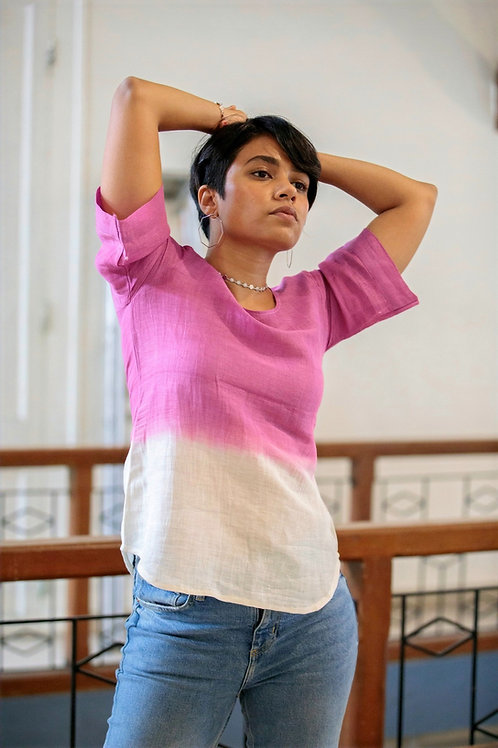 Orchid: Shaded Boxy Sleeve Top