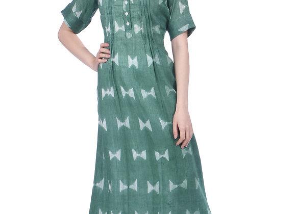 Dark Green Handloom Linen Kurta