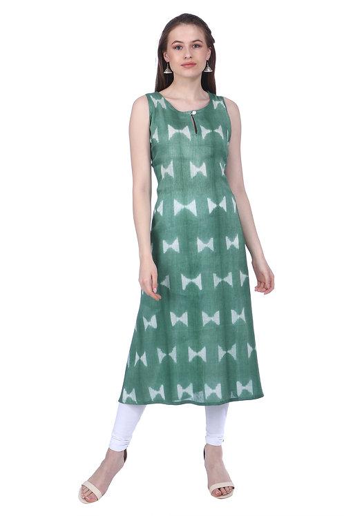 Dark Green In-cut Sleeveless Linen Kurta