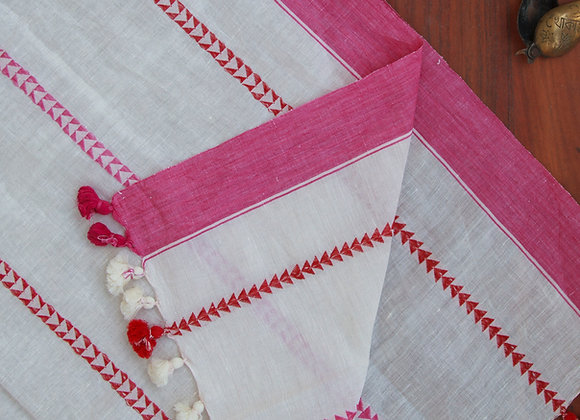 Pink-n-Red Trigon Linen Scarf