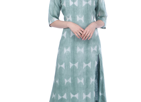 Moss Green Handloom Linen Kurta with Front Slit