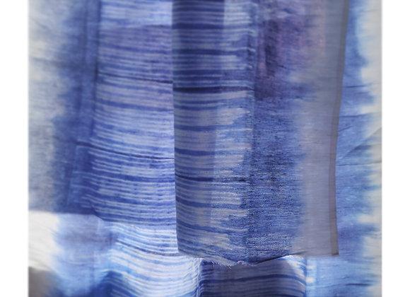 Blue Lino Shibori Linen Stole