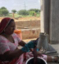 LoomKatha artisan Narayani Devi at work on natural dye of a bandhani scarf