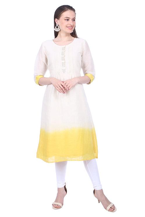 Sunshine Yellow and White Handloom Linen Kurta