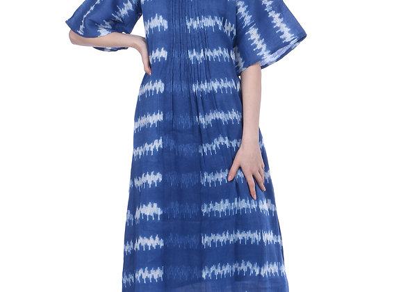 Cobalt Blue Bell-Sleeves Linen Kurta