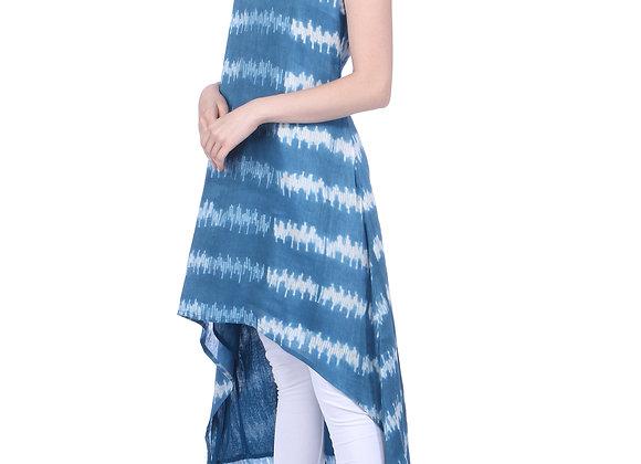 Teal Blue A-line Handloom Linen Asymetric Hem