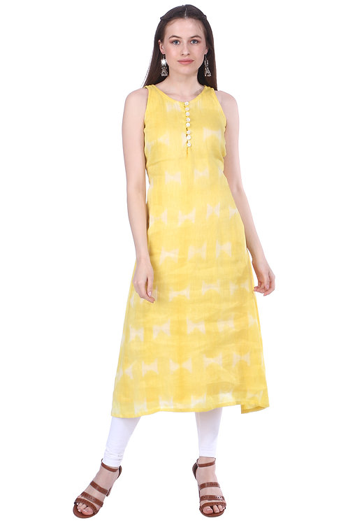 Buttercup Yellow Handloom Linen Dress