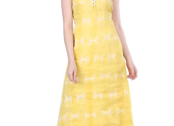 Buttercup Yellow Handloom Linen Dress