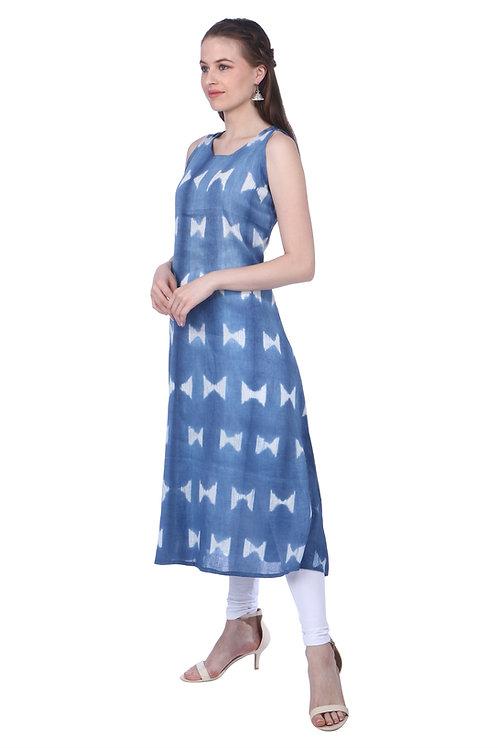 Blue Shibori Handloom Linen Kurta