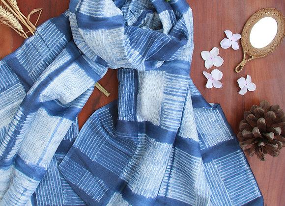 Blue Kyoto Shibori Linen Stole