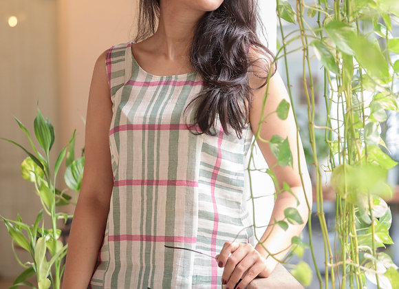 Sage Striped Panelled Linen Top