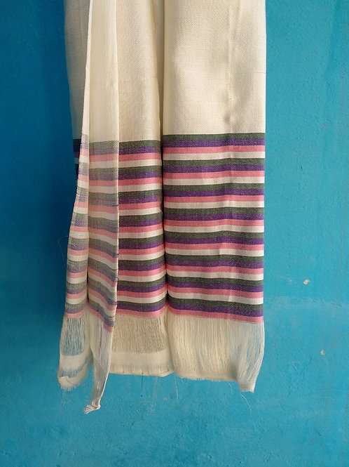 Pearly White Silk Mashru Stole