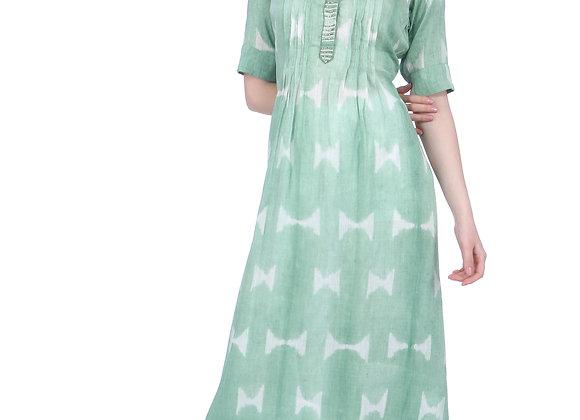 Sage Green Embroidered Handloom Linen Kurta