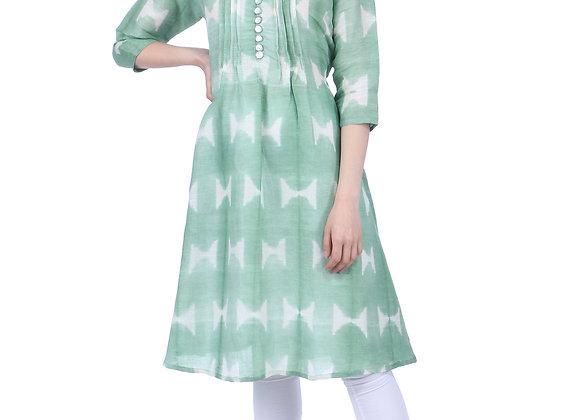 Sage Green Pleated Handloom Linen Kurta