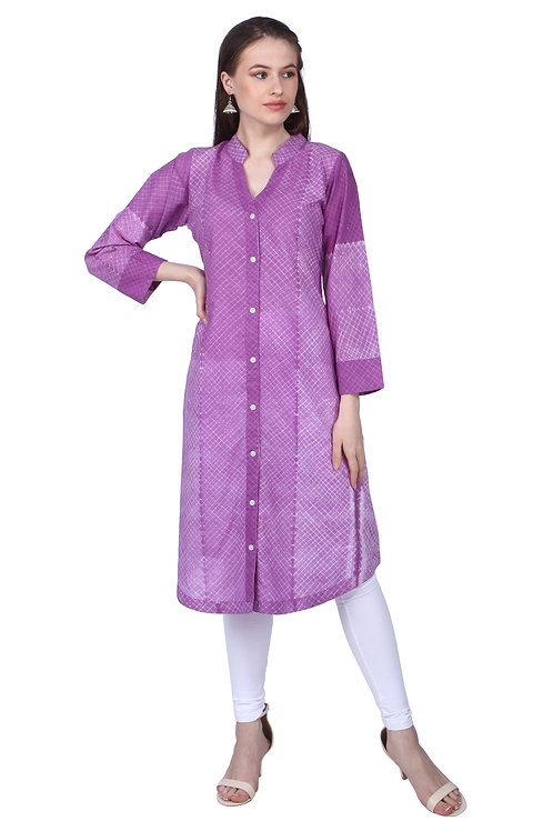 Purple Cambric Shibori Kurta