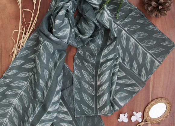 Grey Petals Shibori Stole