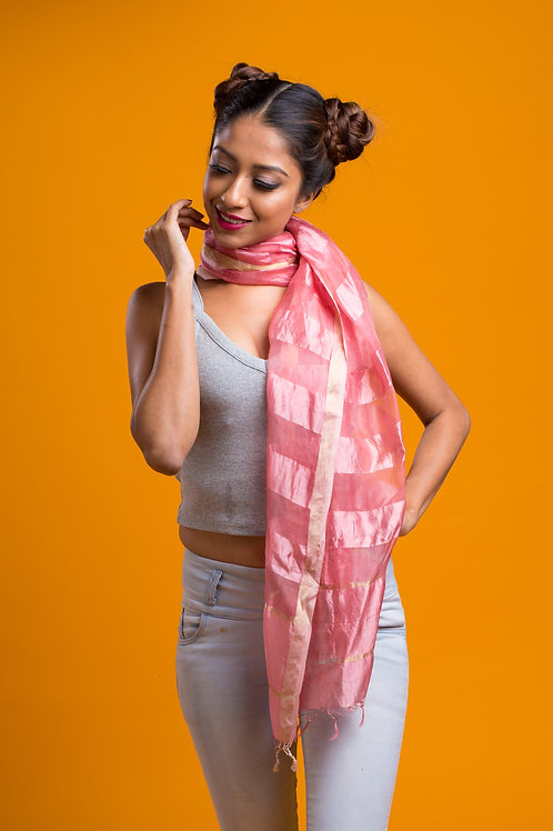Old Rose: Soft Pink Pure Silk Handloom Stole
