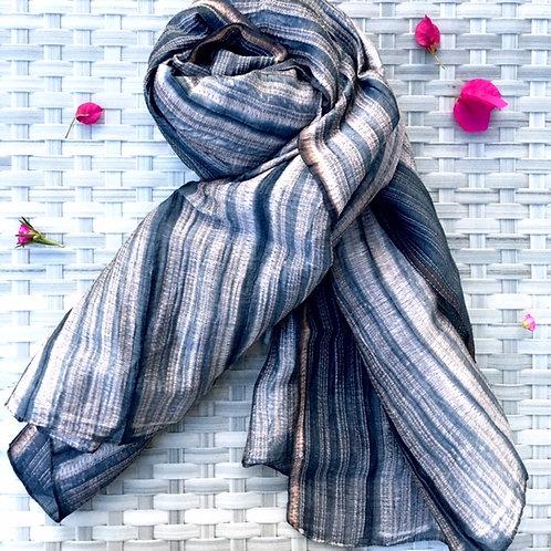 Grey Shibori Silk Stole