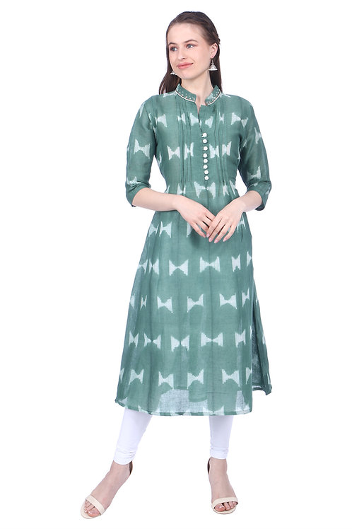Dark Green Pleated Linen Kurta with Neck Embroidery