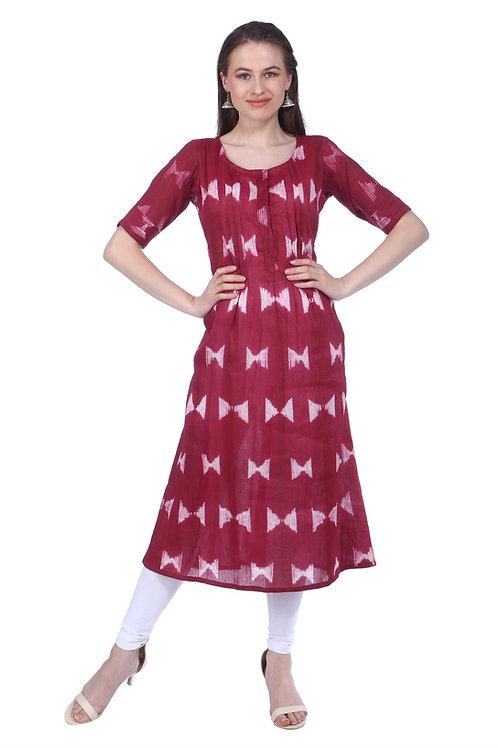 Earthy Red Handloom Linen Kurta