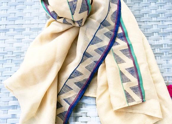 Zigzag Jamdani Tasar Silk Stole