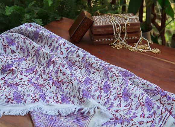 Lilac Flowers Himroo Shawl