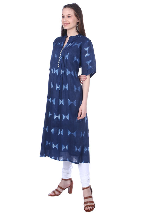Indigo Pleated A-Line Handloom Linen Kurta