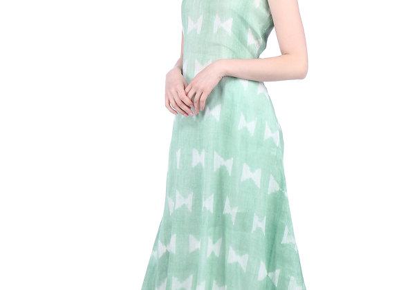 Shaded Sage Green Handloom Linen Kurta