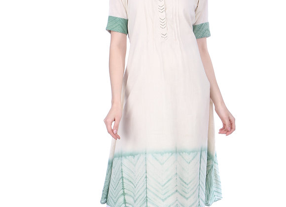 Cream and Sage Green Khadi Kurta
