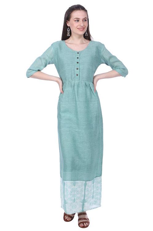 Sage Green Linen Maxi-Dress