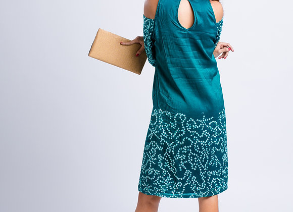 Chaitiya: Teal Bandhani Dress