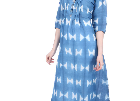 Blue Shibori Linen Kurta with Embroidery