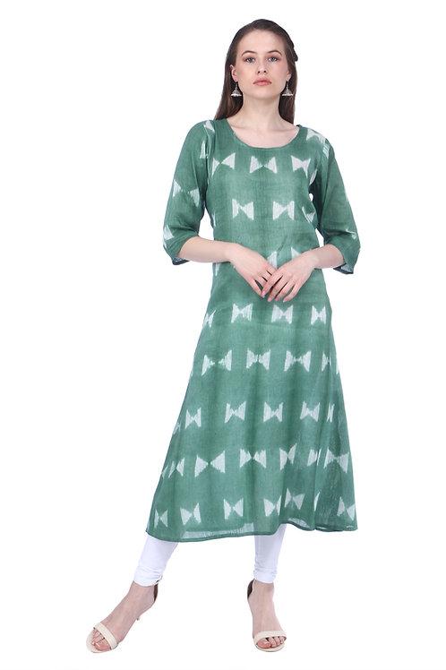 Dark Green A-Line Handloom Linen Kurta