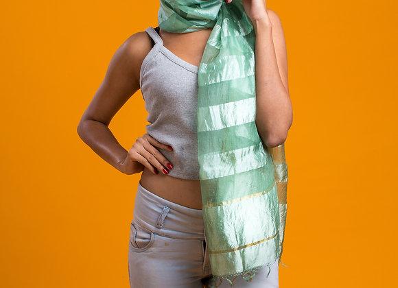 Arka: Sage Green Pure Silk Handloom Stole