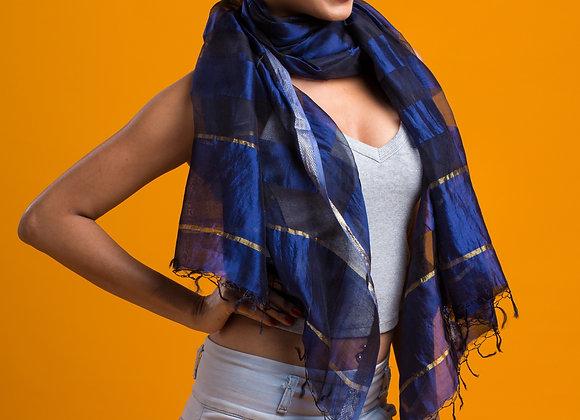 Sahiba: Royal Blue Silk Handloom Stole