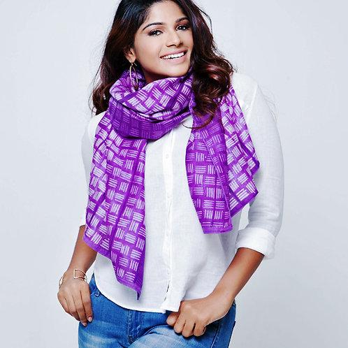Lahoa: Purple Shibori Chanderi Scarf