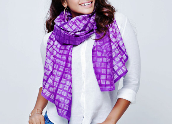 Lahoa: Purple Shibori Chanderi Scarf