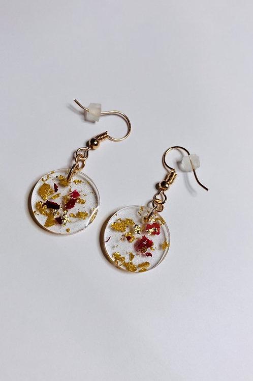 Gold leaf and rose petal resin earrings